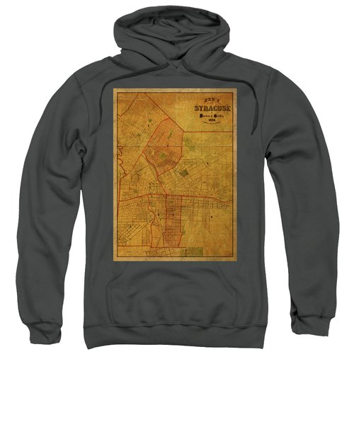Syracuse New York Vintage City Street Map 1868 Sweatshirt