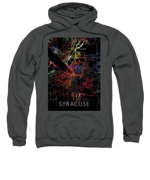 Syracuse New York Watercolor City Street Map Dark Mode Sweatshirt