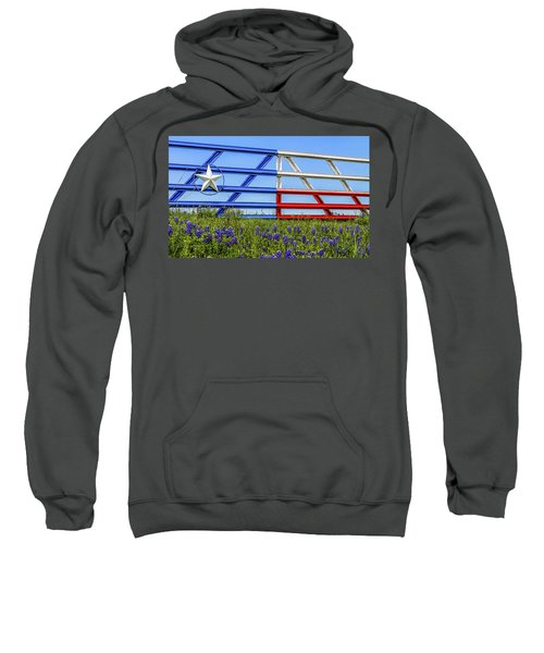 Texas Flag Painted Gate With Blue Bonnets Sweatshirt