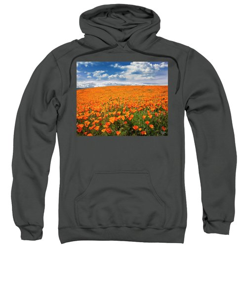 Sweatshirt featuring the photograph The Poppy Field by Endre Balogh