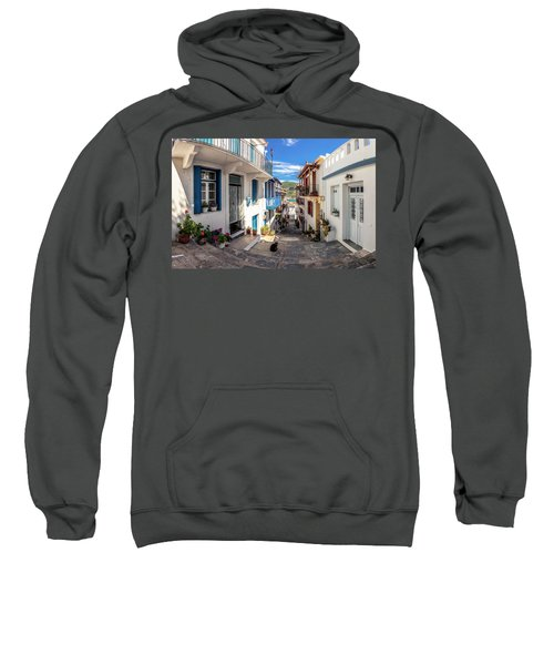Sweatshirt featuring the photograph Town Of Skopelos by Evgeni Dinev
