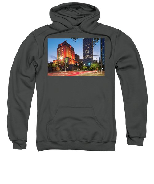 Twilight Photograph Of Houston City Hall Astros Baseball World Series 2017 - Downtown Houston Sweatshirt