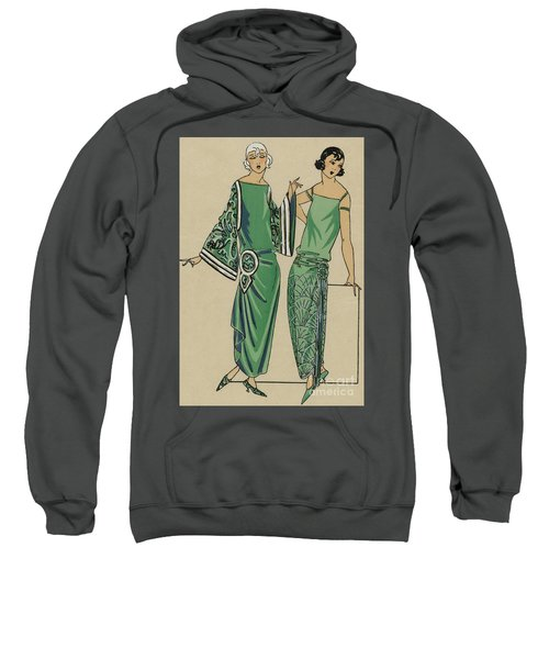 Two Green Dresses With Embroidery Designed By Alice Bernard, Print From Tres Parisien, 1923  Sweatshirt