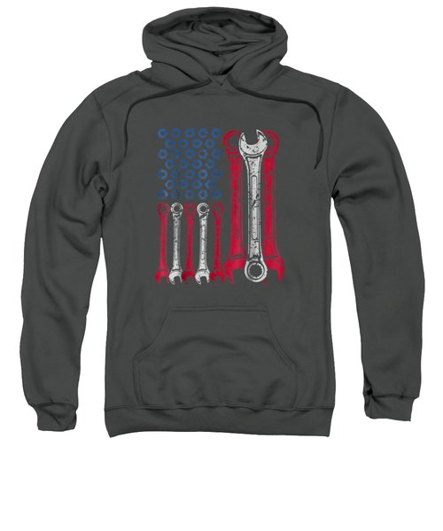 Usa Red White Blue American Flag Mechanic T-shirt Sweatshirt
