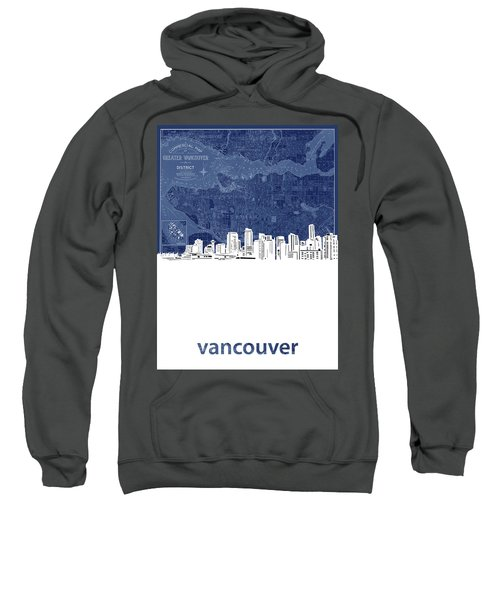 Vancouver Skyline Map Blue Sweatshirt