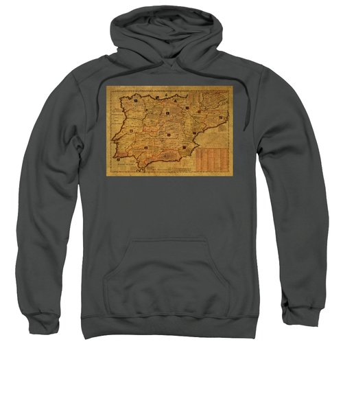 Vintage Map Of Spain And Portugal 1789 Sweatshirt