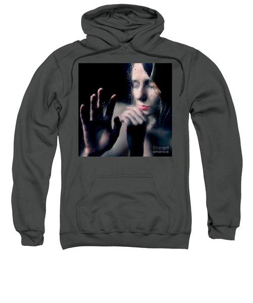 Woman Portrait Behind Glass With Rain Drops Sweatshirt