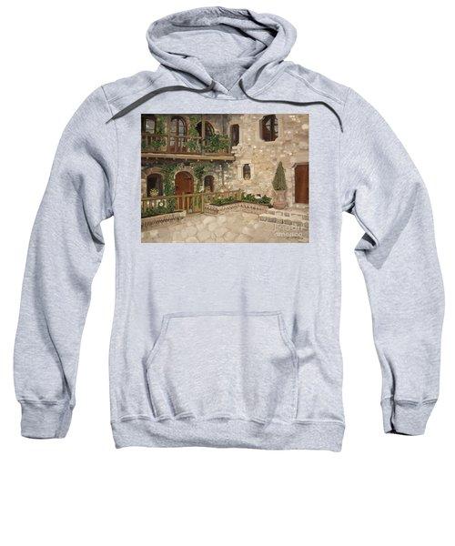 Greek Courtyard - Agiou Stefanou Monastery -balcony Sweatshirt
