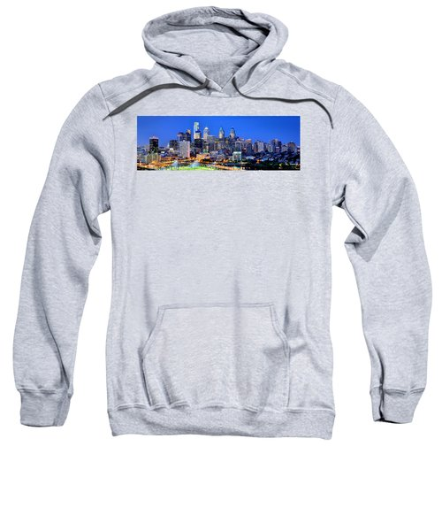 Philadelphia Skyline At Night Evening Panorama Sweatshirt