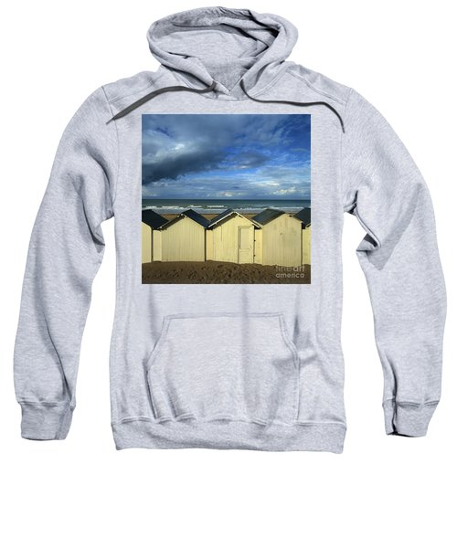 Beach Huts Under A Stormy Sky In Normandy. France. Europe Sweatshirt