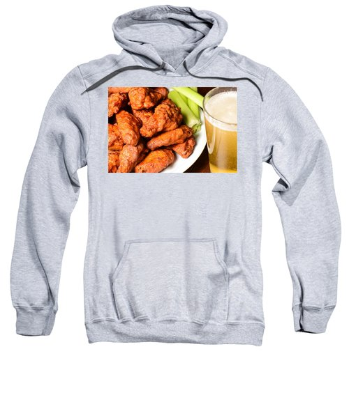 Buffalo Wings With Celery Sticks And Beer Sweatshirt