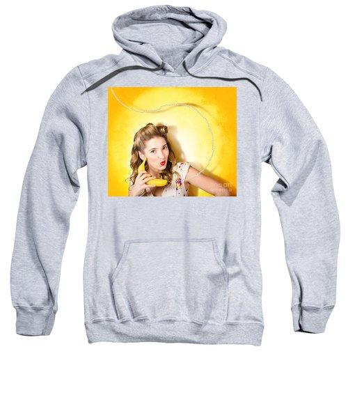 Gossiping Retro Pin Up Girl On Fruit Phone Sweatshirt