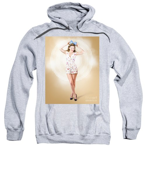 Modelling Pinup Girl Wearing Bow Hair Accessory Sweatshirt