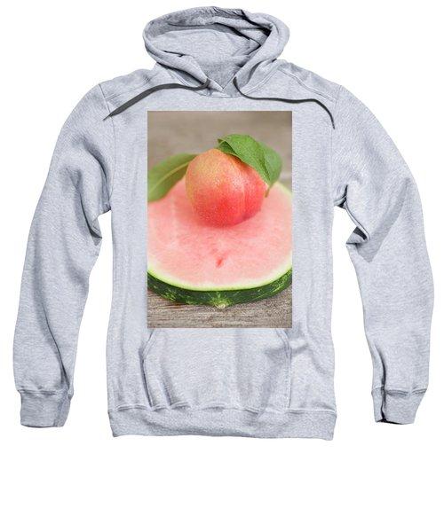 Nectarine With Leaves On Slice Of Watermelon Sweatshirt