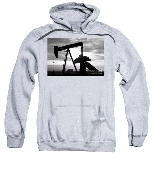 Oil Well Pump Jack Black And White Sweatshirt