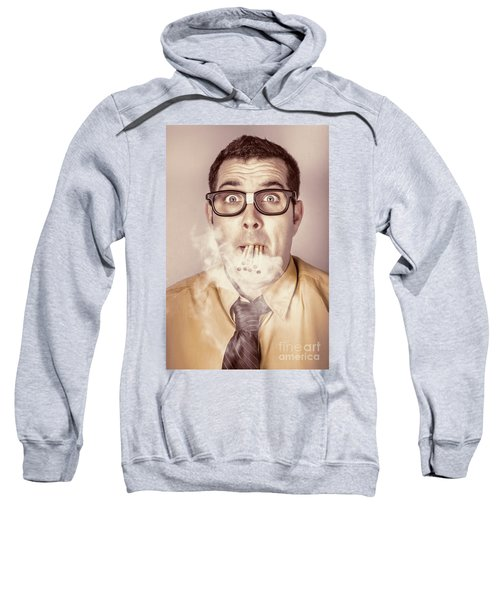 Smoking Nerd Businessman Under Work Stress Sweatshirt
