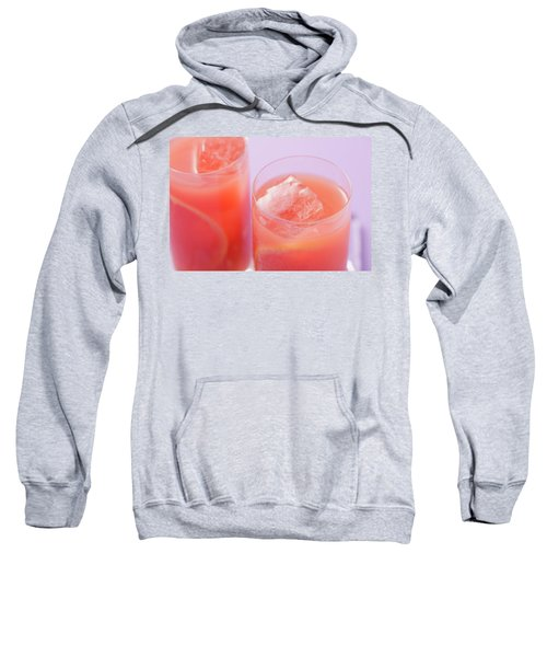Two Glasses Of Pink Grapefruit Juice With Ice Cubes Sweatshirt
