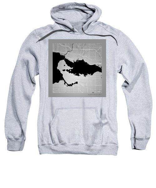 Vancouver Street Map - Vancouver Canada Road Map Art On Color Sweatshirt