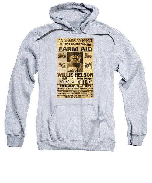 Vintage Willie Nelson 1985 Farm Aid Poster Sweatshirt by John Stephens