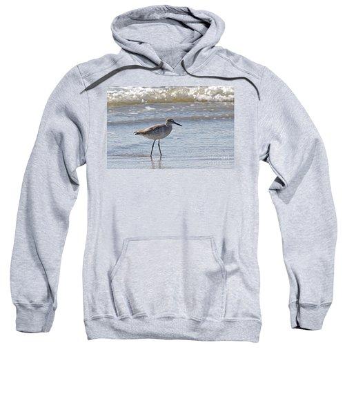 Willet Bird Wading In Ocean Surf Sweatshirt