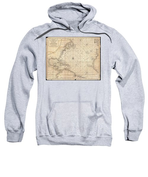 1683 Mortier Map Of North America The West Indies And The Atlantic Ocean  Sweatshirt