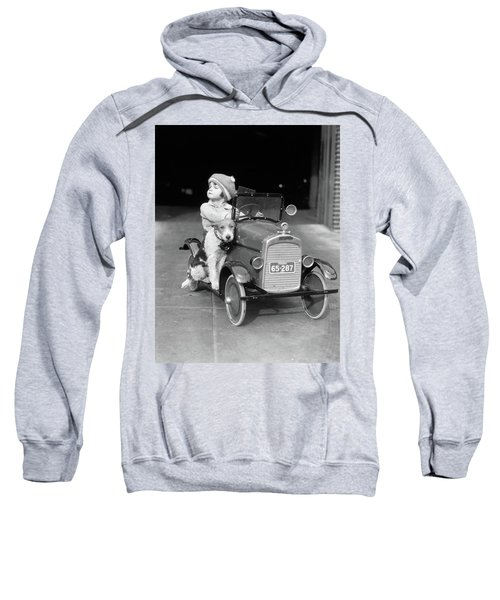 1920s Girl In Toy Pedal Car With Dog Sweatshirt