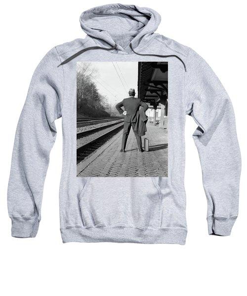 1950s 1960s Man Commuter Back View Sweatshirt