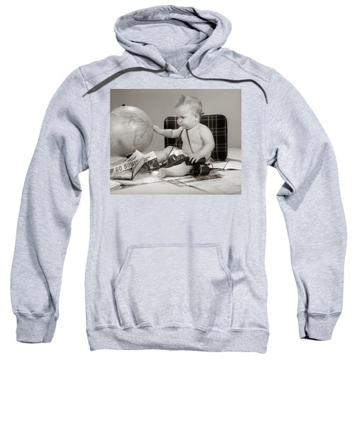 1960s Baby Seated Looking At Globe Sweatshirt