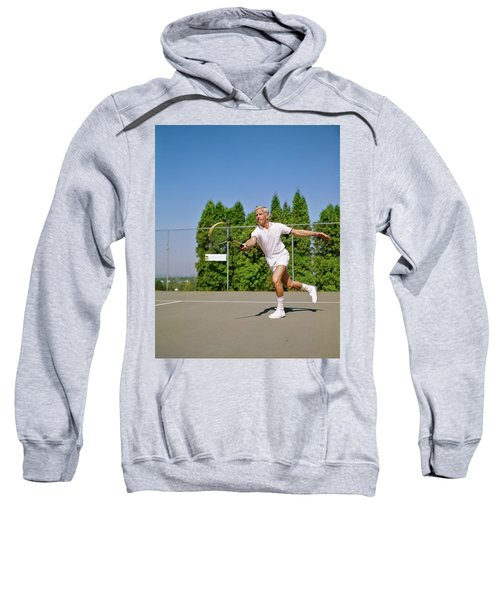 1960s Blonde Man Wearing Tennis Whites Sweatshirt