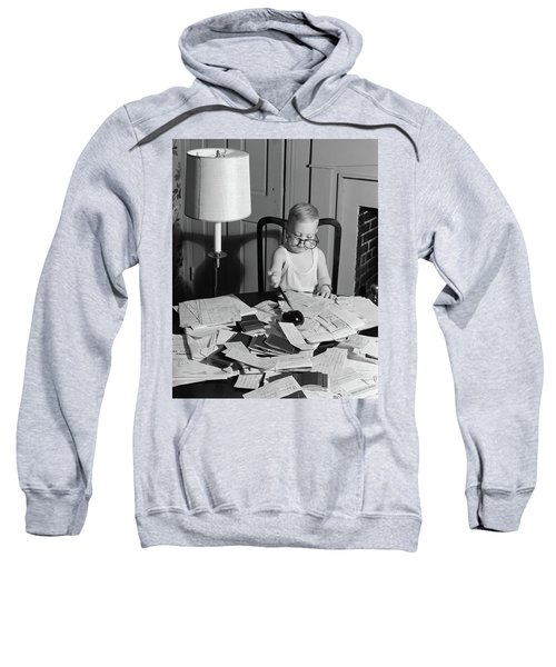 1960s Young Boy At Desk Wearing Glasses Sweatshirt