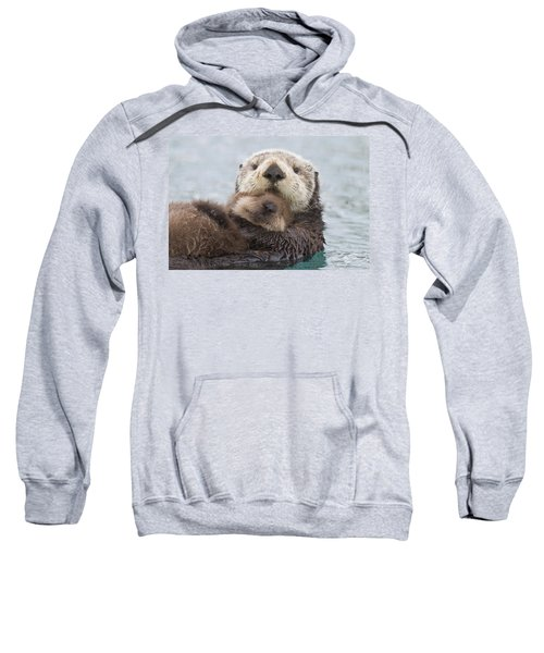 Female Sea Otter Holding Newborn Pup Sweatshirt