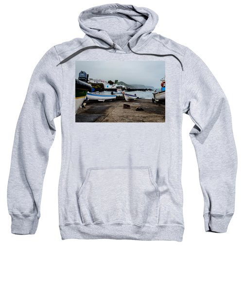 Fishing Boats On Wharf With View Of Houses  Sweatshirt