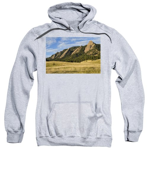 Flatirons With Golden Grass Boulder Colorado Sweatshirt