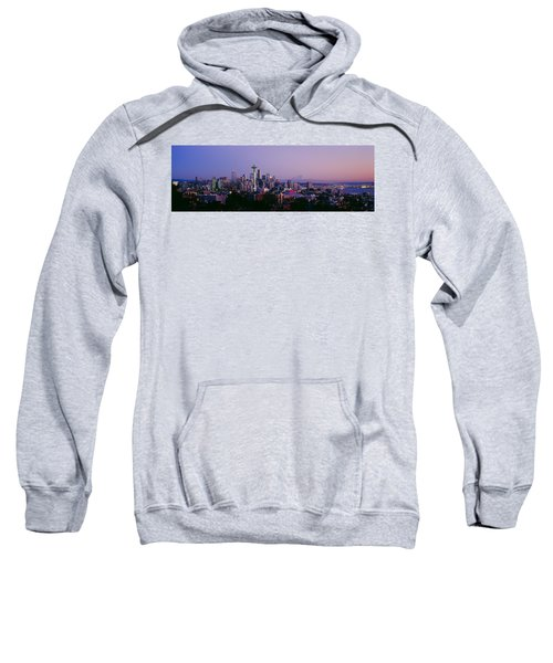 High Angle View Of A City At Sunrise Sweatshirt by Panoramic Images