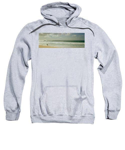 Surfer Standing On The Beach, North Sweatshirt