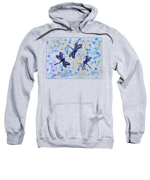 3 Blue Dragonflies Alcohol Ink Sweatshirt
