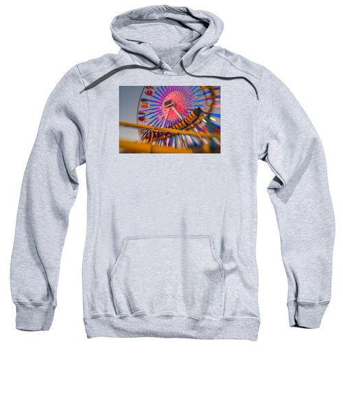 Santa Monica Pier Ferris Wheel And Roller Coaster At Dusk Sweatshirt