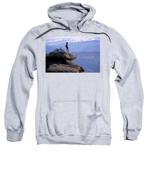 A Female Mountain Biker Stands Sweatshirt