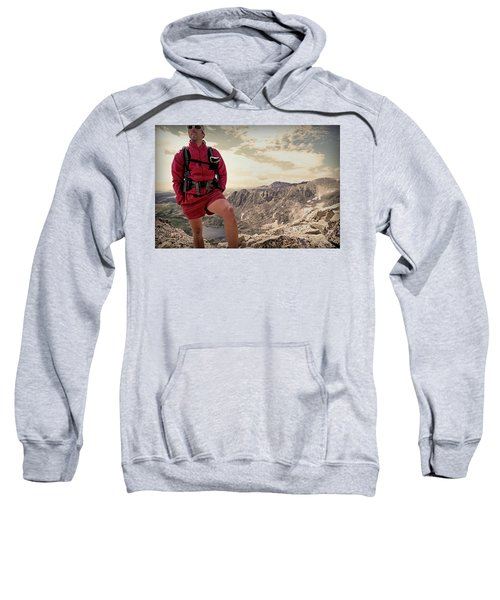 A Male Hiker Stops To Take In The Views Sweatshirt