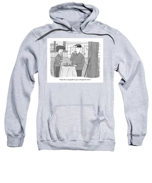 A Man And Woman Stand Outside With A Bag Sweatshirt