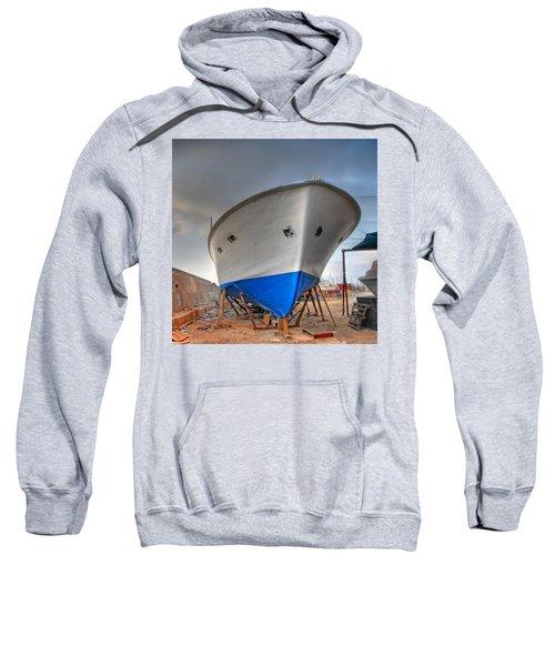 a resting boat in Jaffa port Sweatshirt