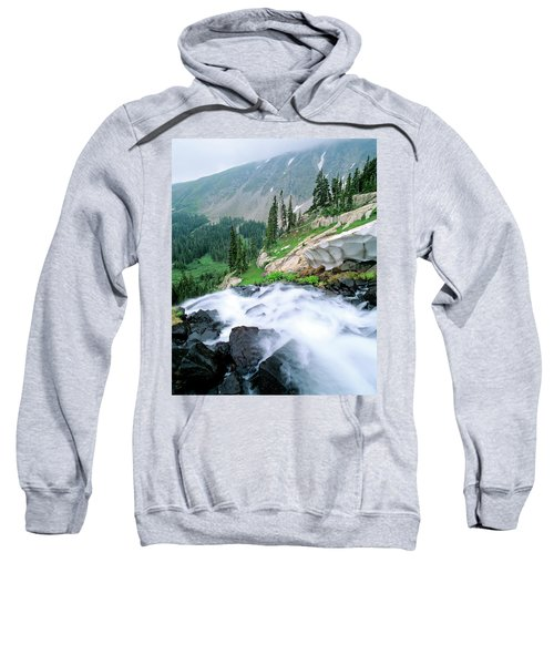 A Waterfall Flows Out Of Lake Isabelle Sweatshirt