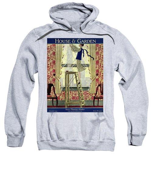 A Young Matron Adjusting Curtains Sweatshirt
