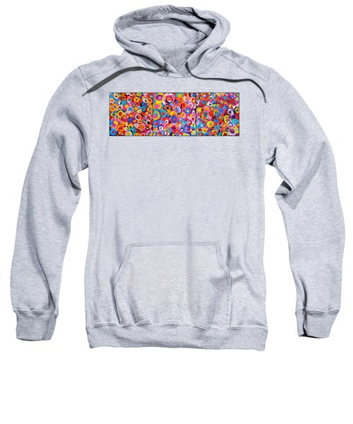 Abstract Colorful Flowers Triptych  Sweatshirt