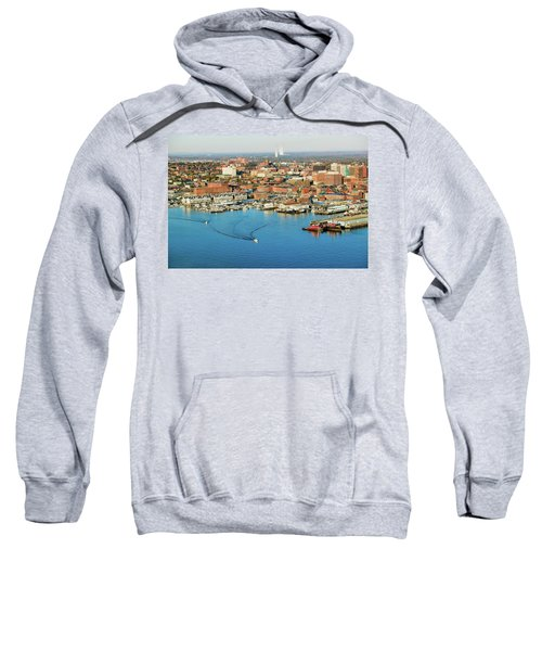 Aerial Of Downtown Portland Harbor Sweatshirt