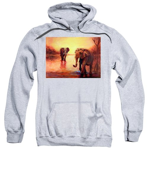 African Elephants At Sunset In The Serengeti Sweatshirt