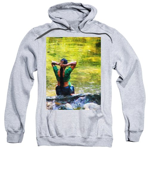 After The River Bathing. Indian Woman. Impressionism Sweatshirt