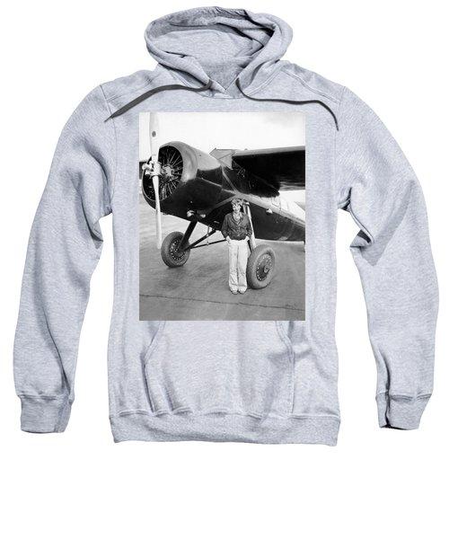 Amelia Earhart And Her Plane Sweatshirt