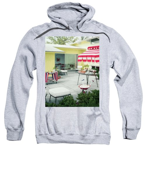 An Outside Area Set Up For A Party Sweatshirt