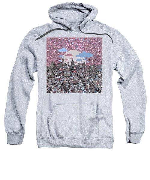 Austin Texas Abstract Panorama 3 Sweatshirt by Bekim Art